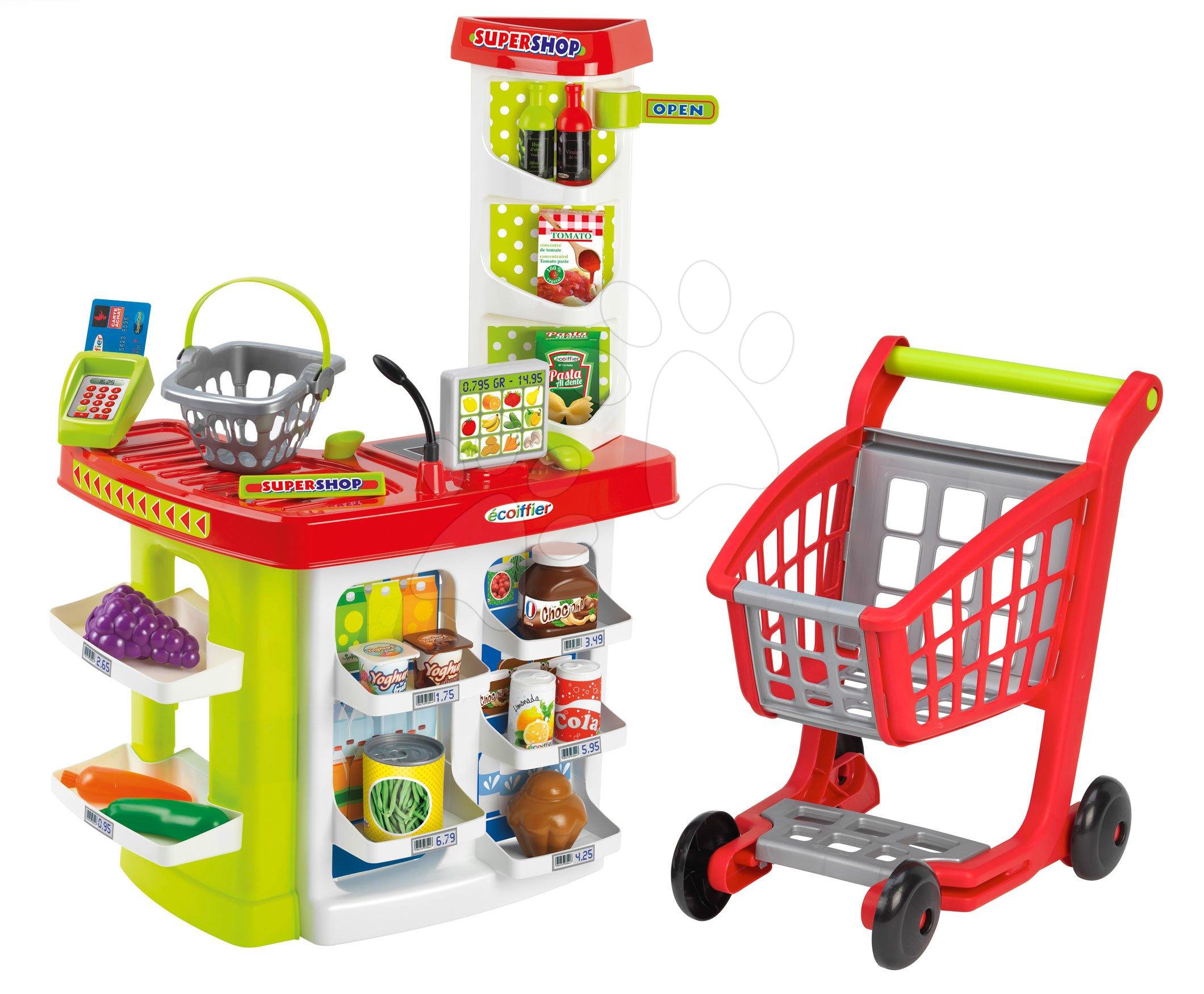 Obchod supermarket s nákupním vozíkem 100% Chef Écoiffier s pokladnou a potravinami od 18 měsíců