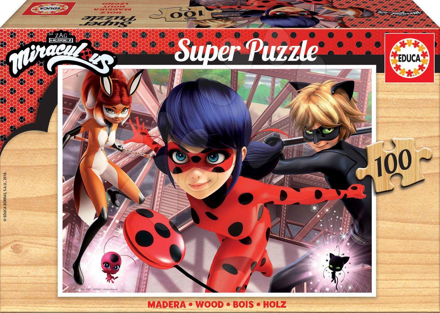 Drevené puzzle Miraculous Ladybug Educa 100 dielov od 6 rokov