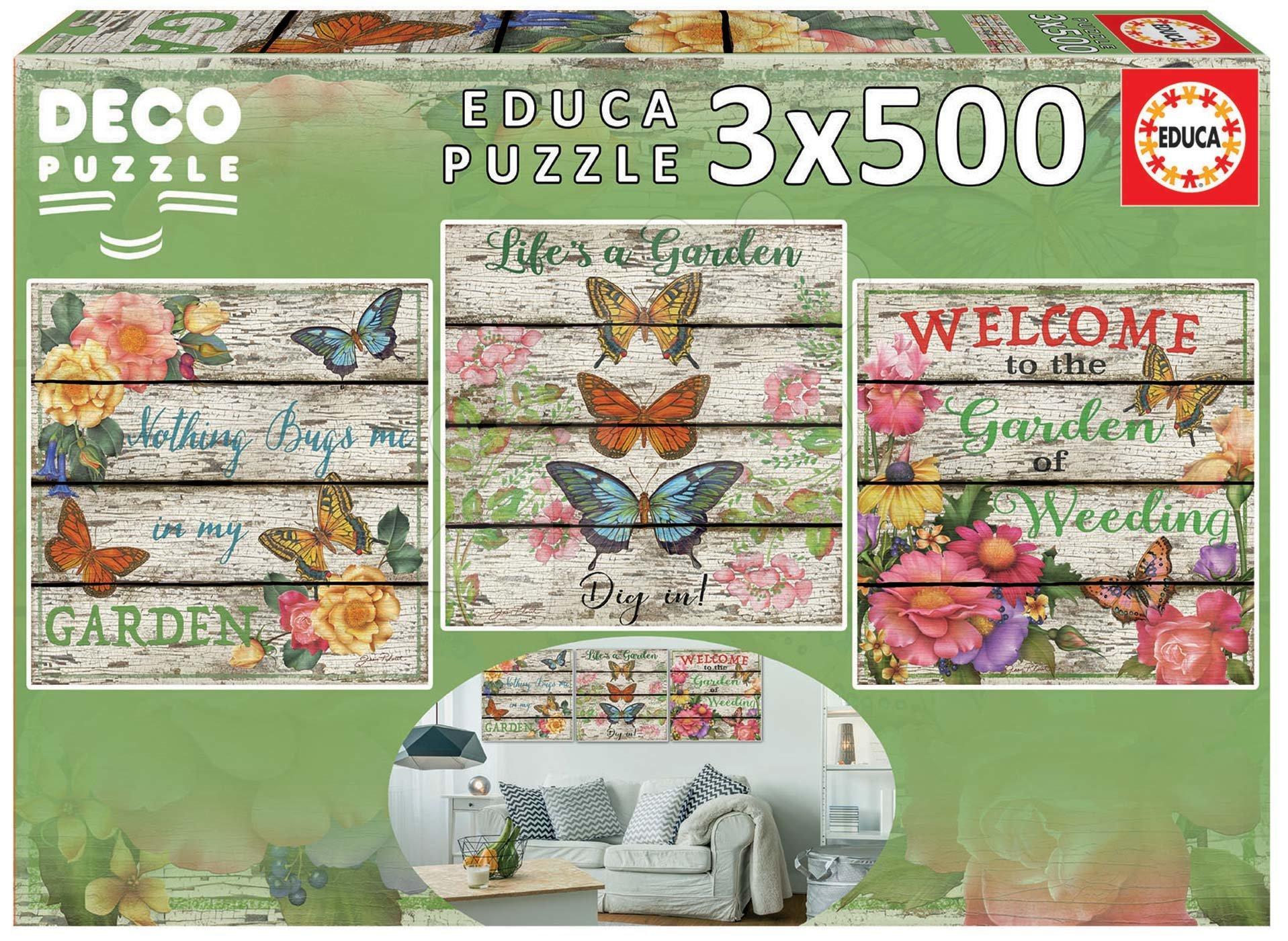 Puzzle Country Garden Educa 3x500 dílků a Fix lepidlo od 11 let