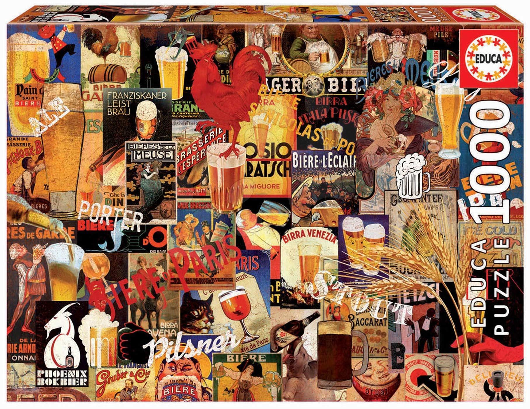 Puzzle Vintage Beer Collage Educa 1000 piese și lipici Fix puzzle de la 11 ani