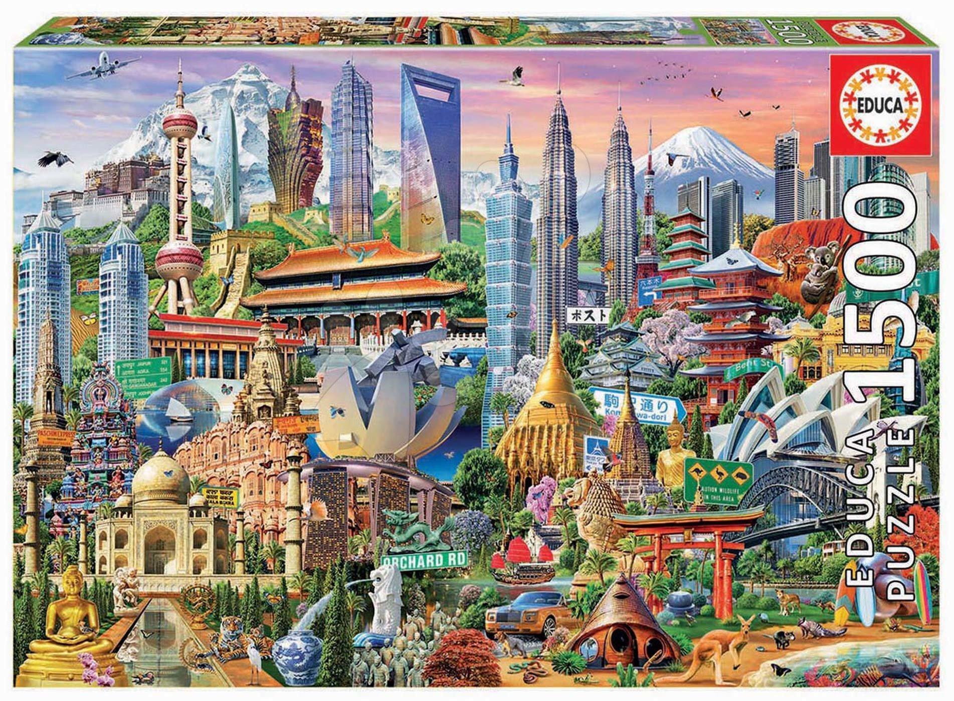 Puzzle Asia Landmarks Educa 1500 dílků a Fix lepidlo od 11 let