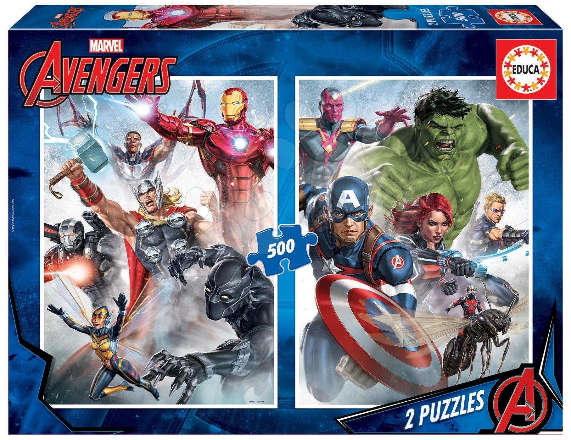 Puzzle Marvel Mania Educa 2x500 dielov a Fix lepidlo od 11 rokov