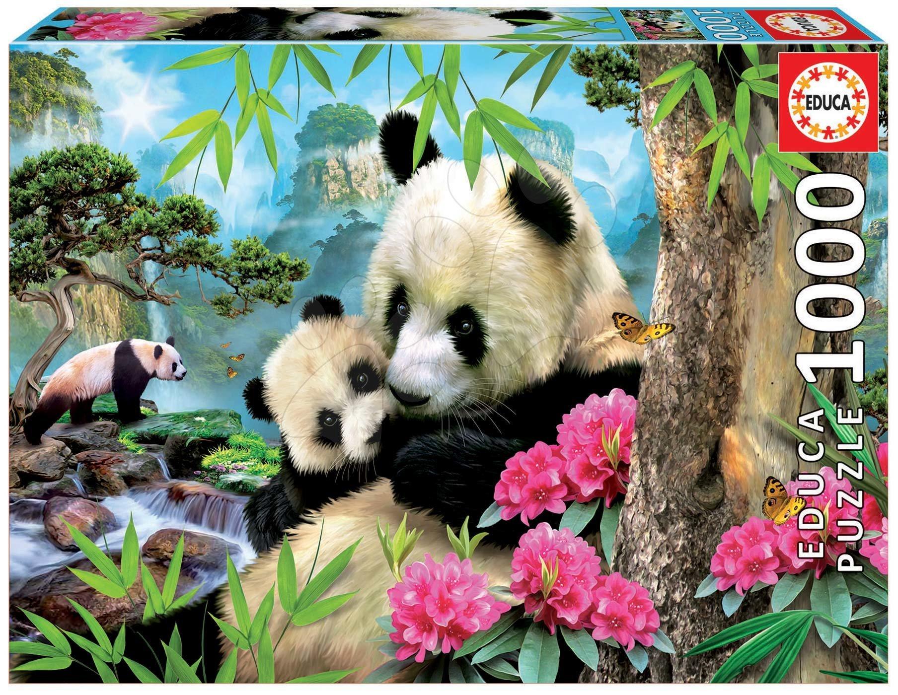 Puzzle Morning panda Educa 1000 piese şi lipici Fix