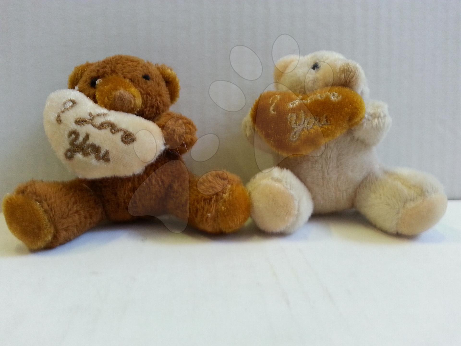 Plyšové postavičky - Plyšový medvídek se srdíčkem krémový/hnědý