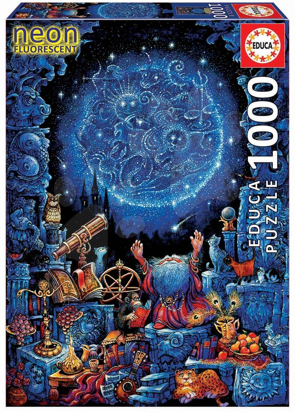 Educa neónové puzzle Astrologer 1000-dielne a fix lepidlo 18003