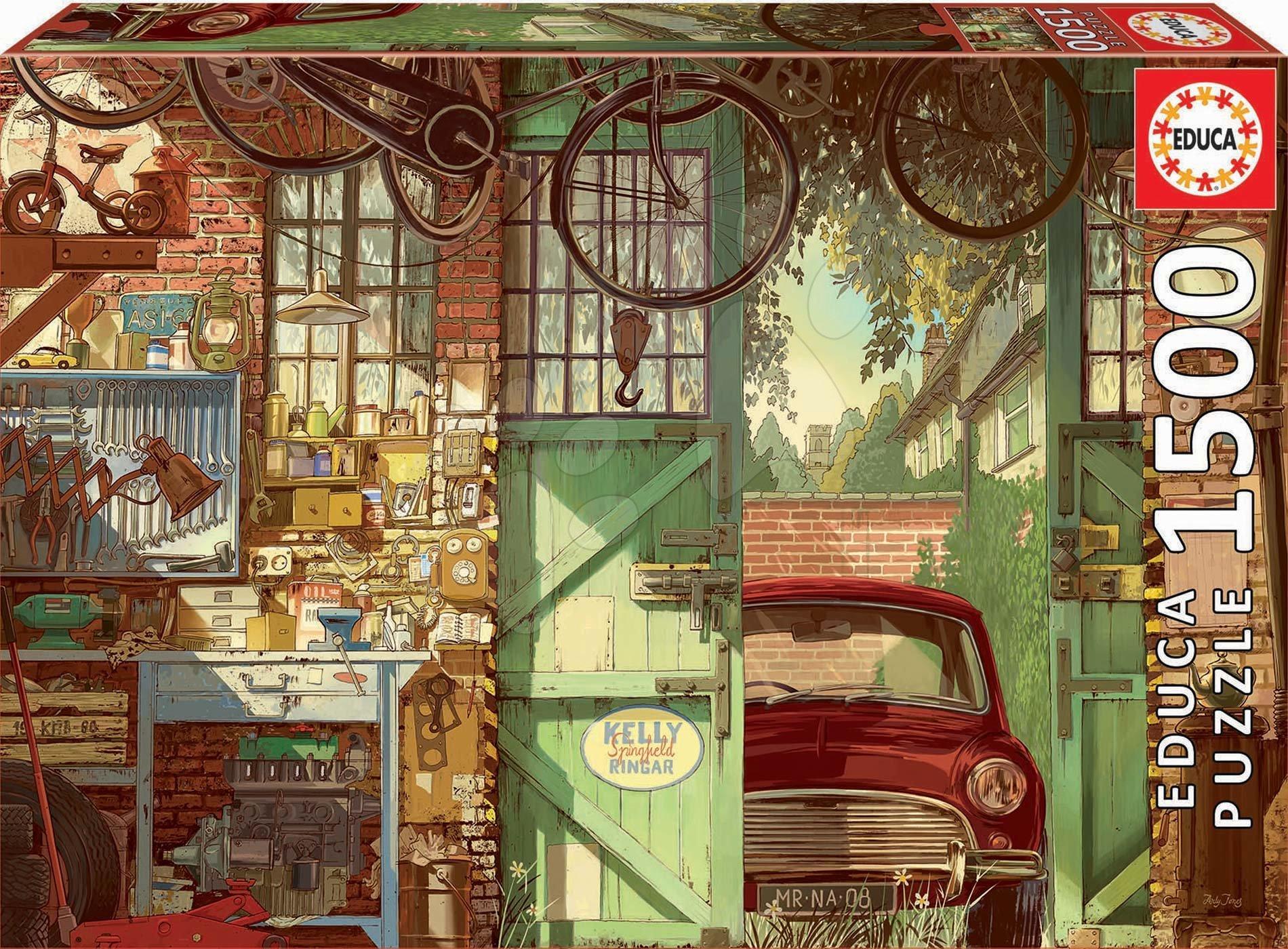 Puzzle Old garage, Arly Jones Educa 1500 dílků a Fix lepidlo od 11 let