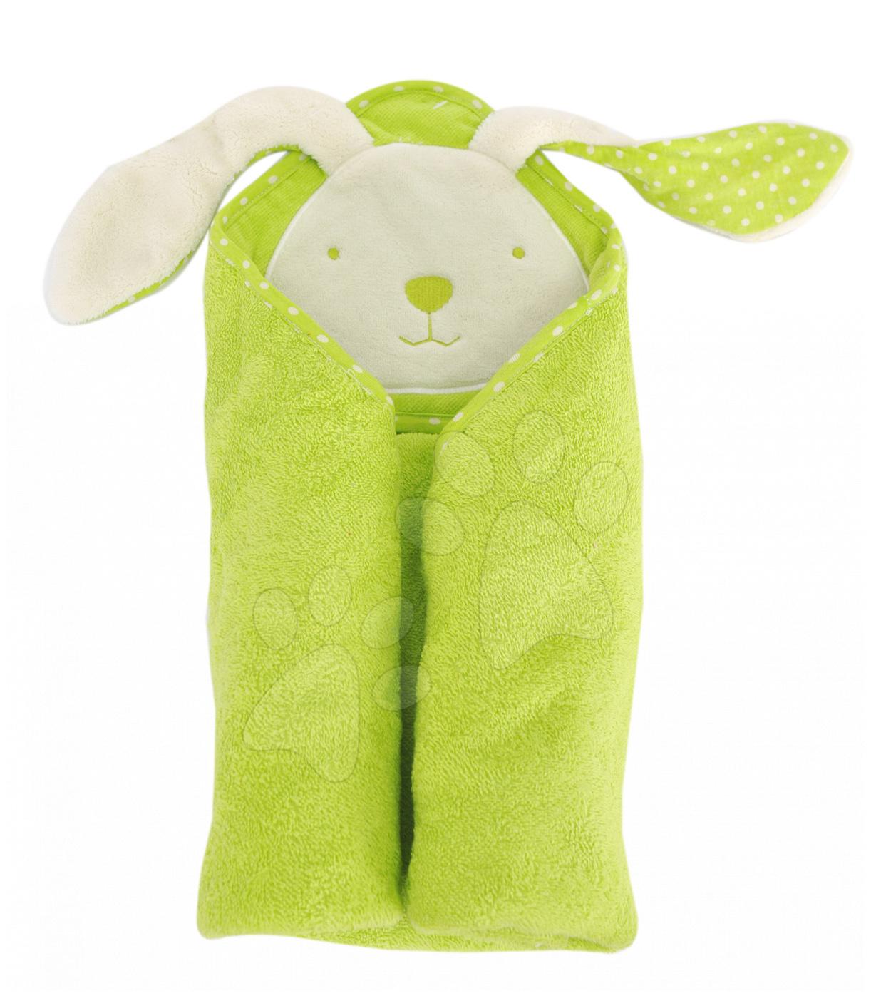 Osuška s kapucí pro nejmenší toTs-smarTrike zajíček 100% přírodní bavlna zelená od 0 měsíců