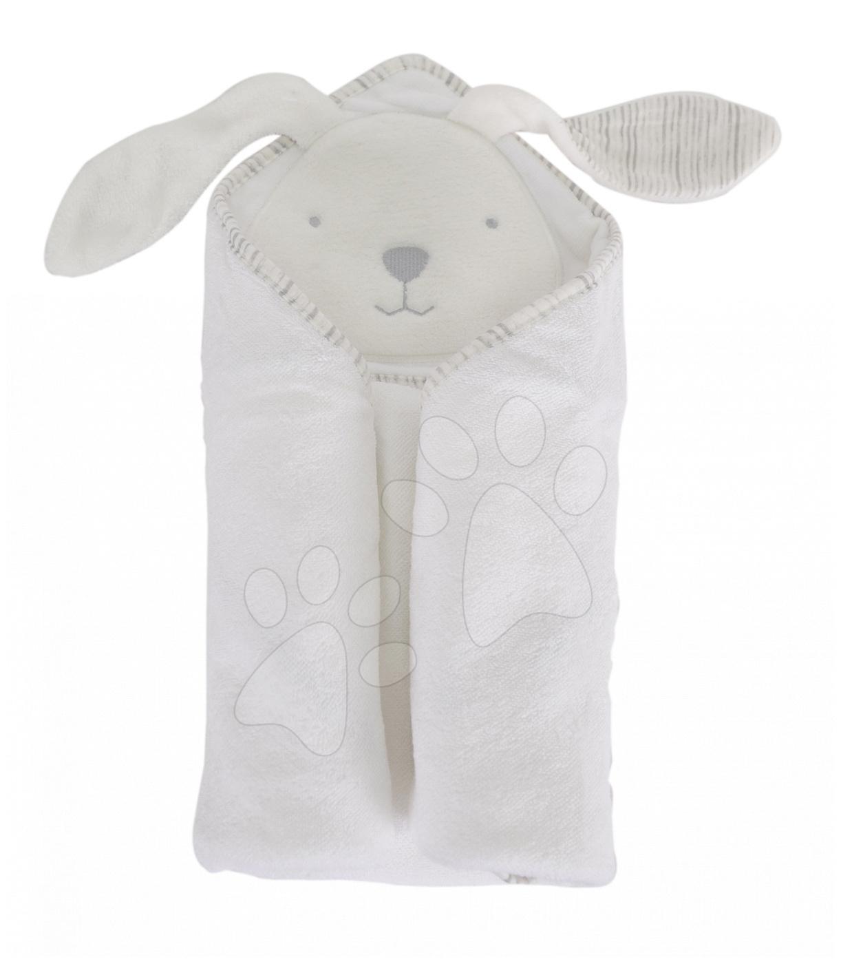 Osuška s kapucí pro nejmenší Classic toTs-smarTrike zajíček 100% přírodní velur bavlna bílá od 0 měsíců