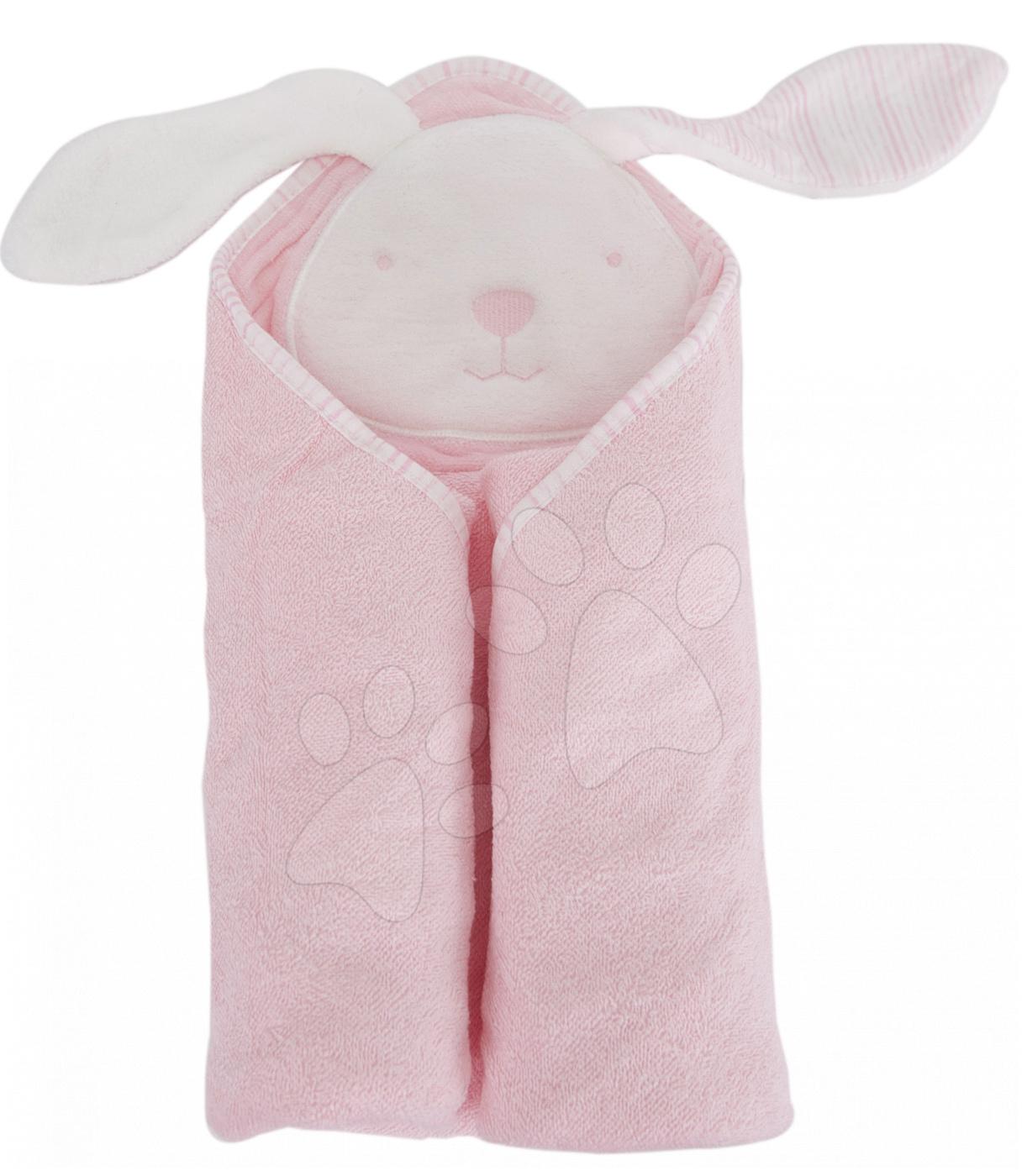 Osuška s kapucí pro nejmenší Classic toTs-smarTrike zajíček 100% přírodní velur bavlna růžová od 0 měsíců
