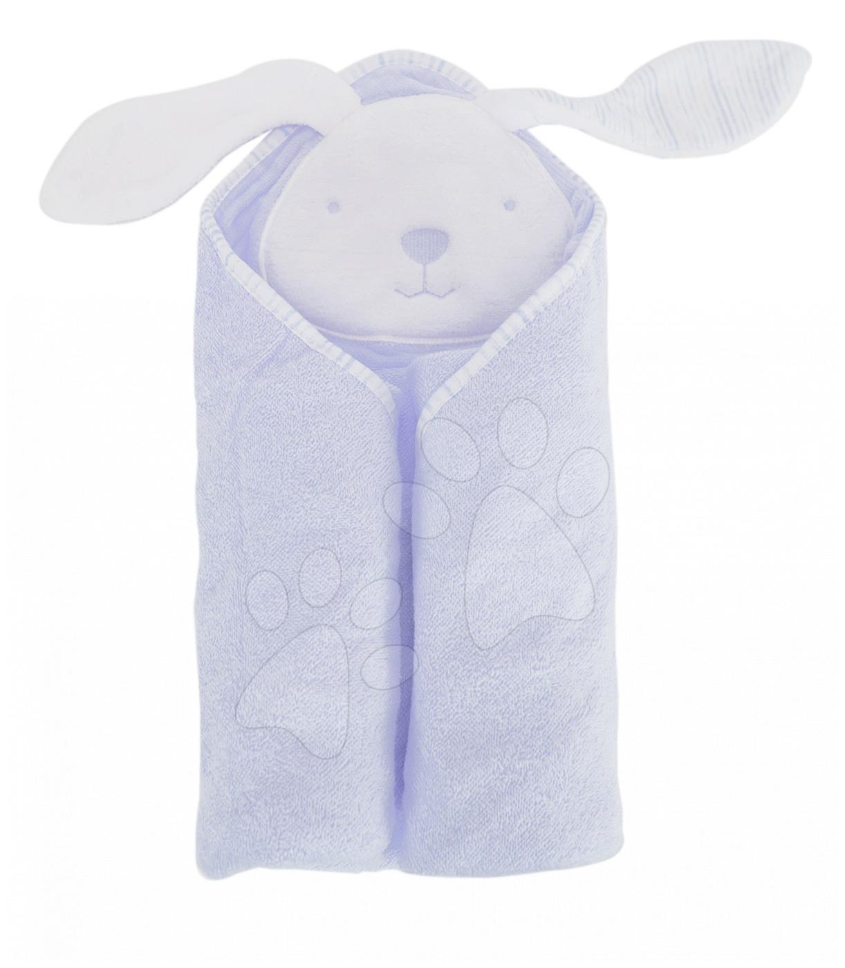 Osuška s kapucí pro nejmenší Classic toTs-smarTrike zajíček 100% přírodní velur bavlna modrá od 0 měsíců