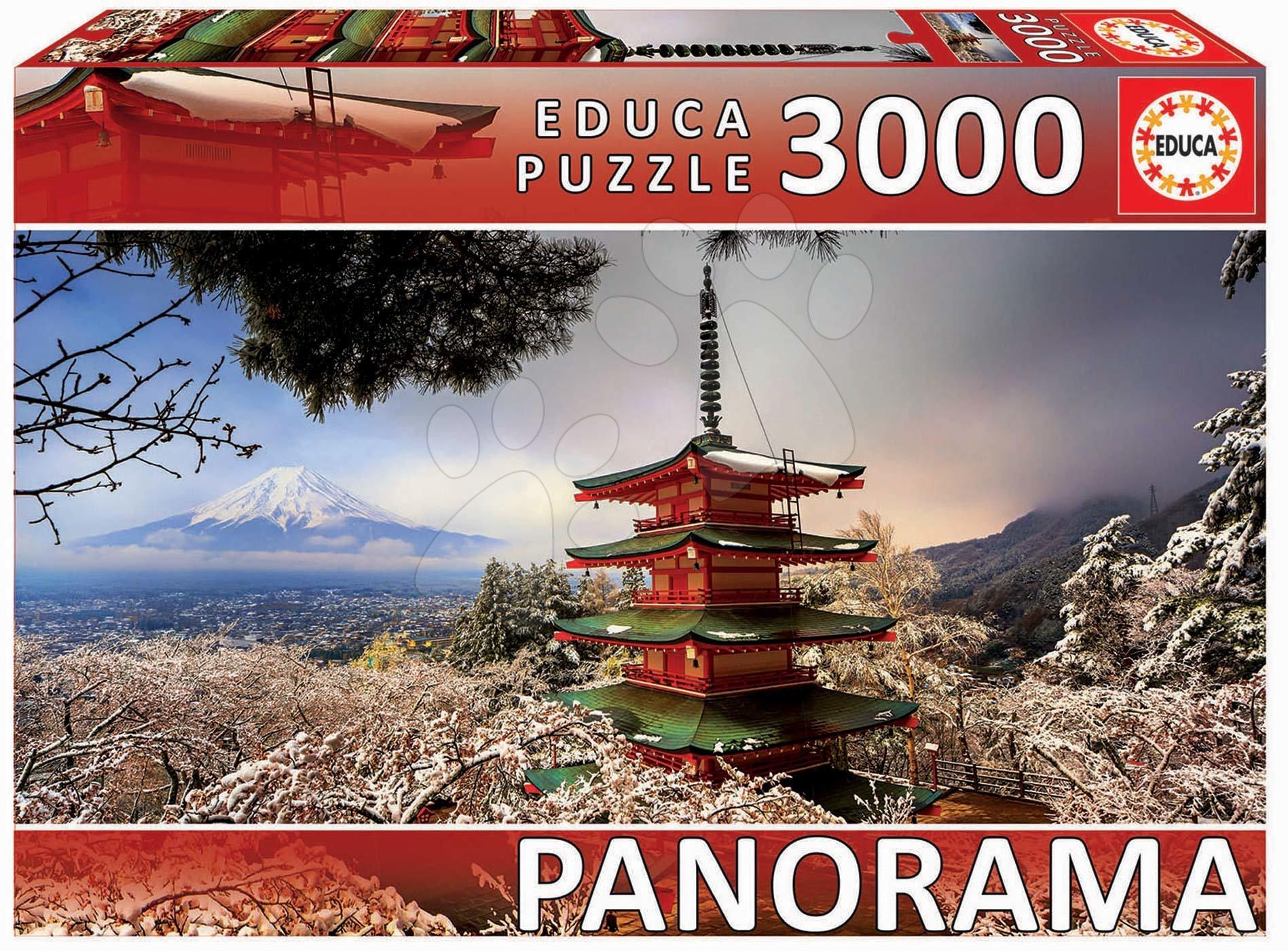 Puzzle panorama Mount Fuji and Chureito Pagoda Educa 3000 darabos 11 évtől