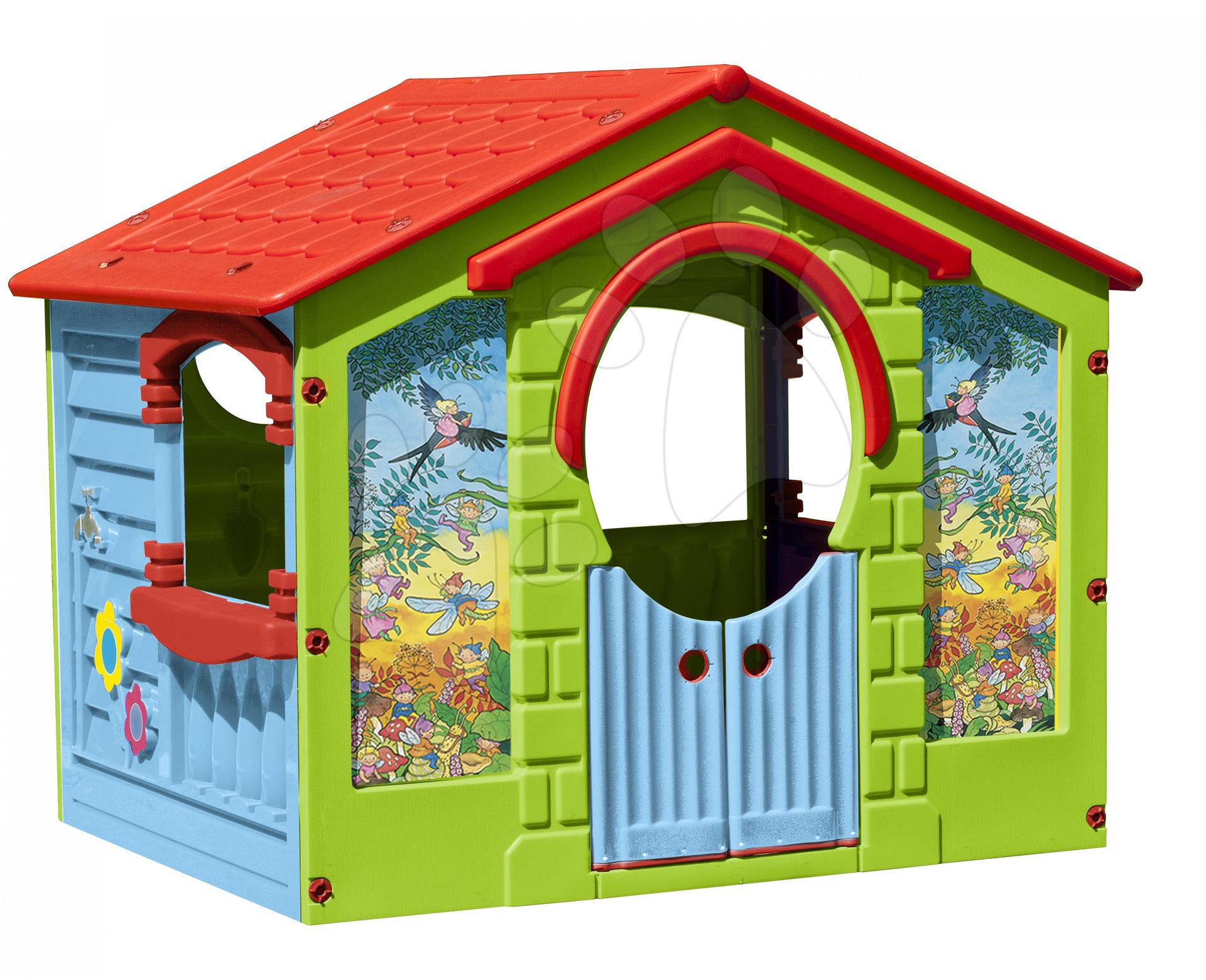 Hišice za otroke - Hišica Happy House PalPlay z rožicami zelena