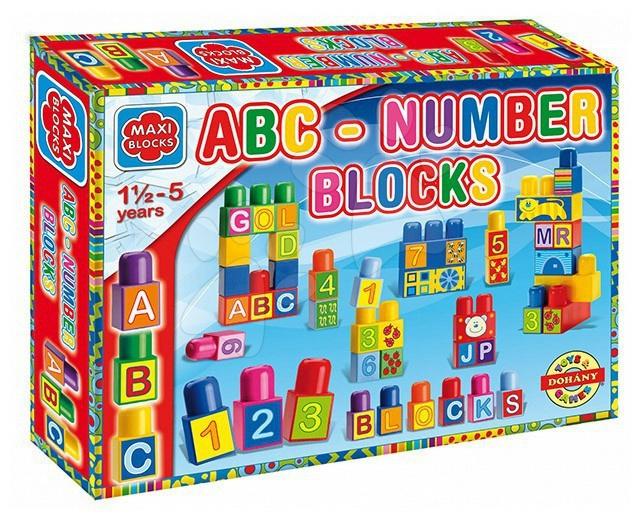 Cuburi mari Maxi Blocks alfabet şi numere Dohány 64 de piese de la 18 luni
