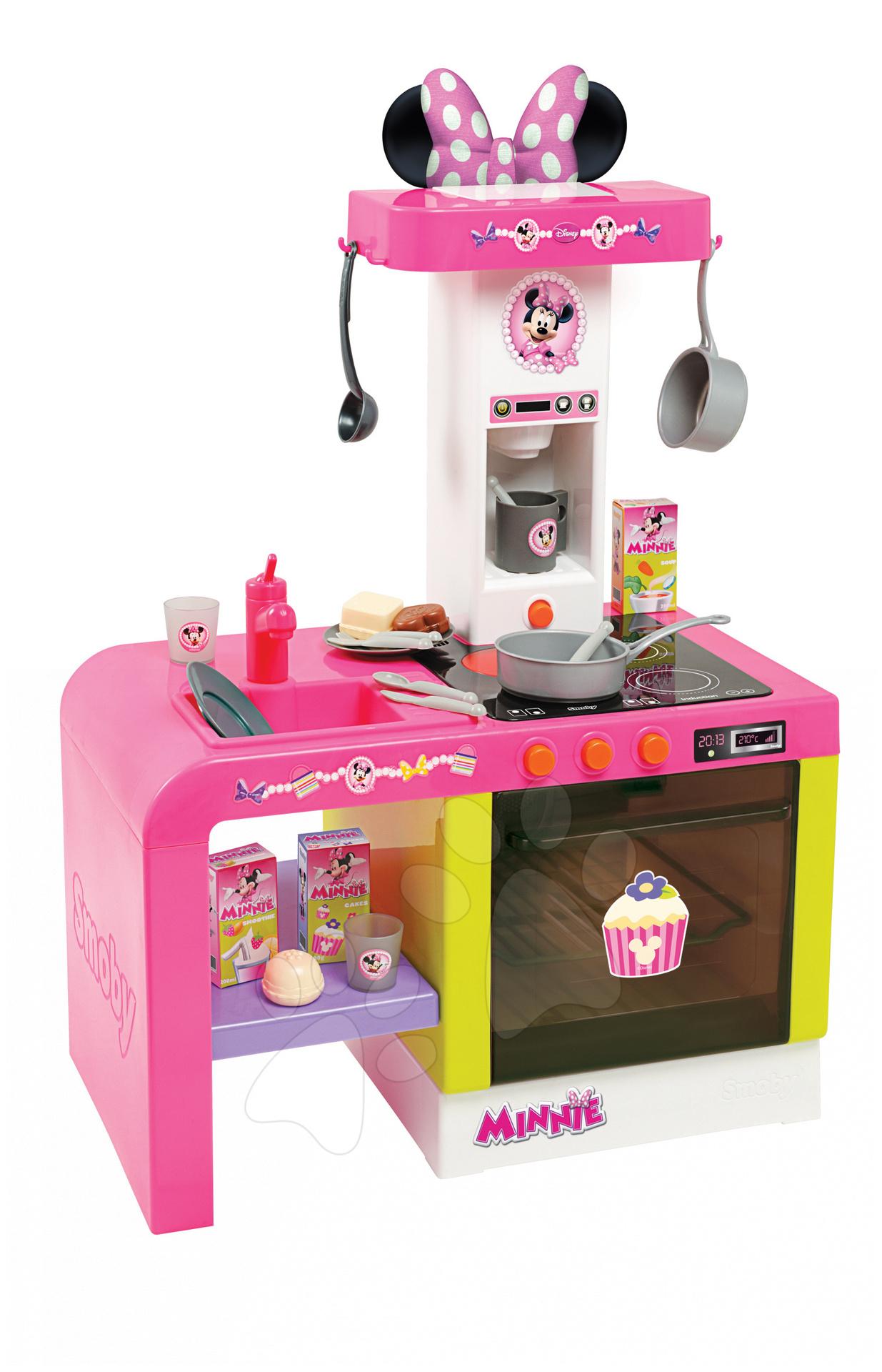 Staré položky - Minnie kuchynka Cheftronic Smoby so svetlom a zvukom s výškou pracovnej dosky 31 cm a s 20 doplnkami