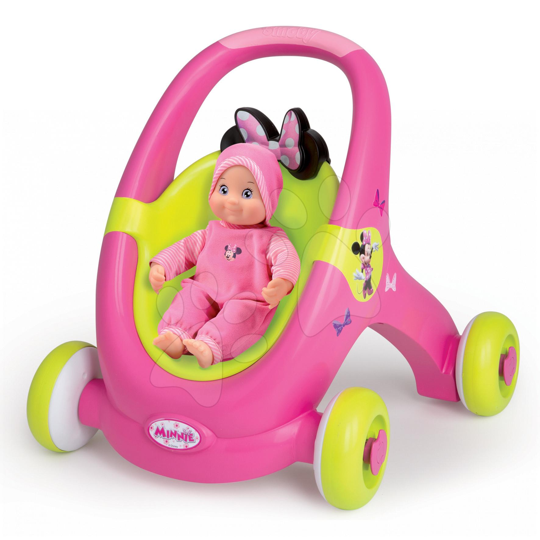 Chodítko a kočárek Minnie pro panenku Smoby od 12 měsíců