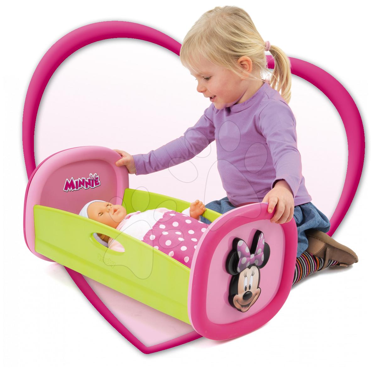 Postieľky a kolísky pre bábiky - Kolíska pre bábiku do 42 cm Minnie Smoby s perinkou svetloružová od 18 mes