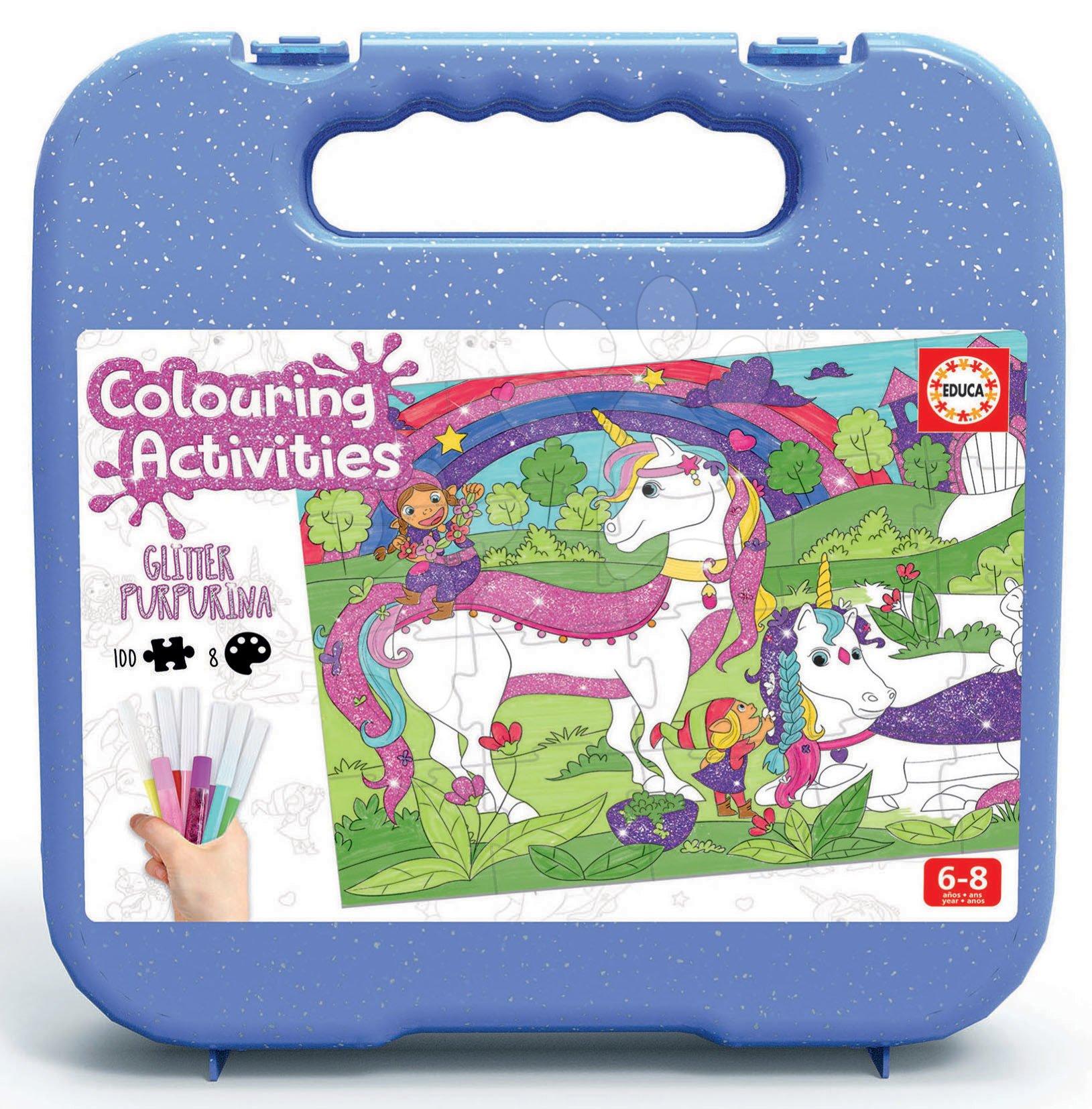 Puzzle vymaľovánky Jednorožec Colouring Activities v kufríku Educa 100 dielov - maľovanie s trblietavými fixkami od 6 rokov
