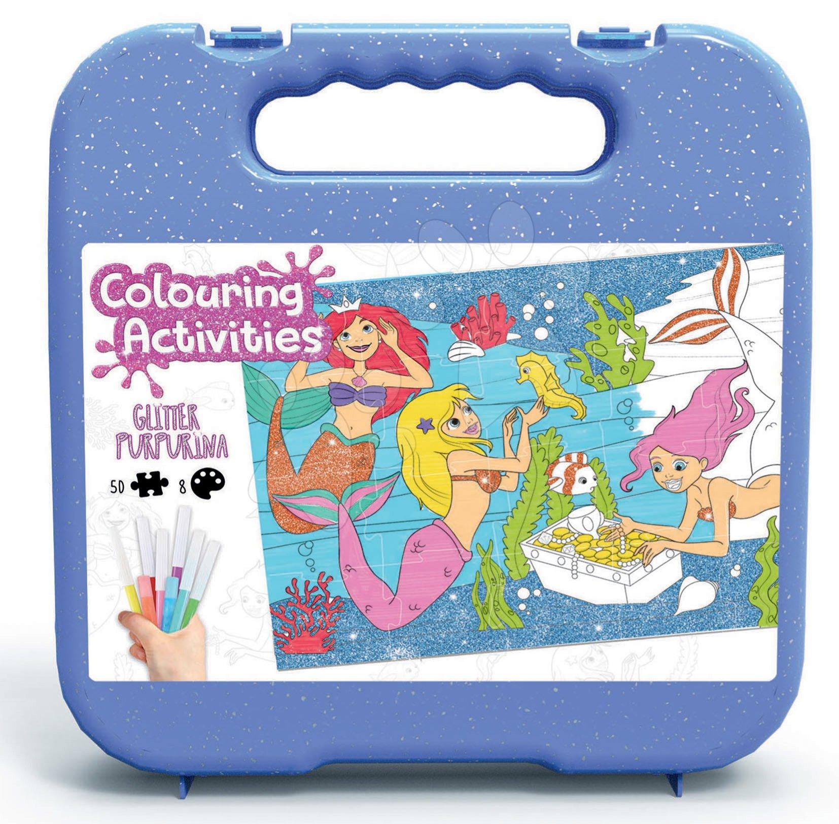 Puzzle vymaľovánky Ariela Colouring Activities v kufríku Educa 50 dielov - maľovanie s trblietavými fixkami od 4 rokov