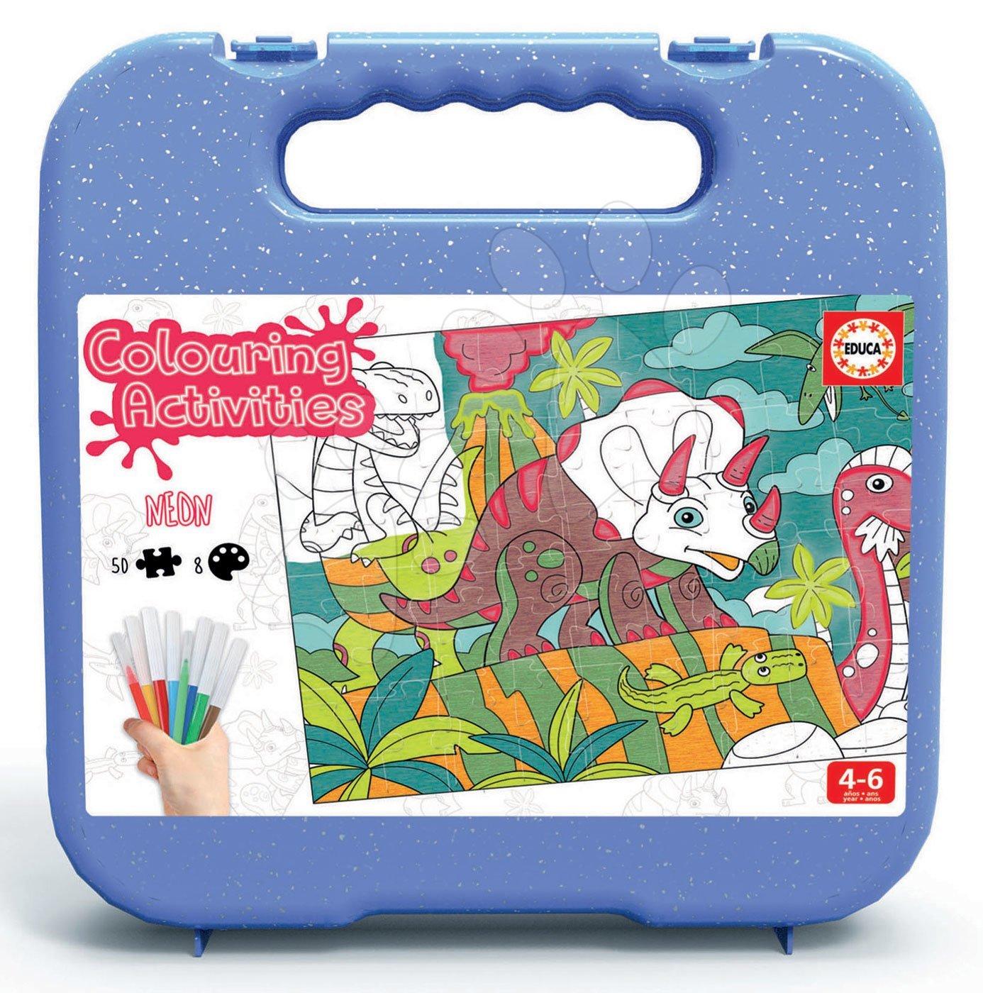Puzzle vymaľovánky Dino Colouring Activities Educa 50-dielne v kufríku s neónovými fixkami od 4 rokov