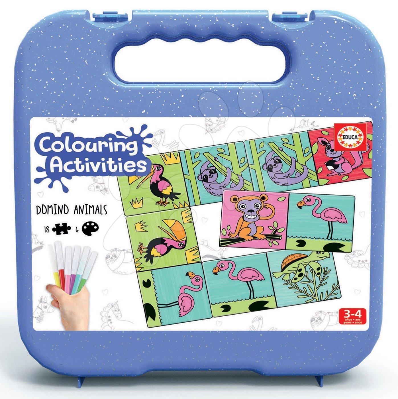 Domino omalovánky Zvířátka Colouring Activities Educa v kufříku 18 dílů – malování s fixkami