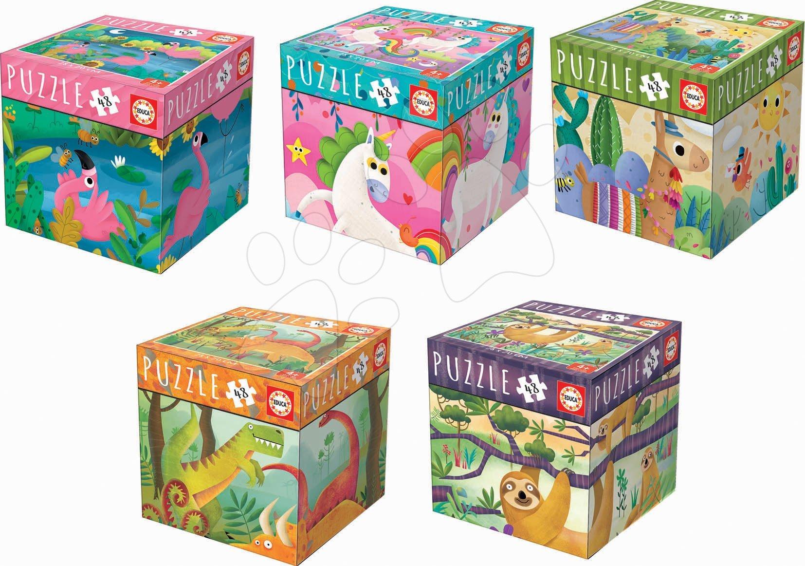 Set puzzle Mini Box Puzzle Educa 5 druhov zvieratiek 48-dielové od 4 rokov