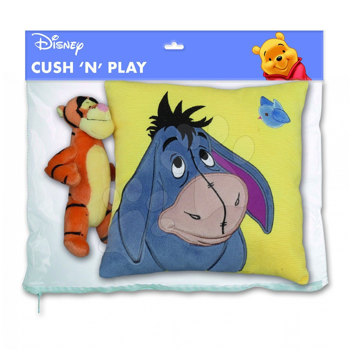 Sada polštářek pro děti a plyšový tygr Disney Medvídek Pú Ilanit Oslík a tygr