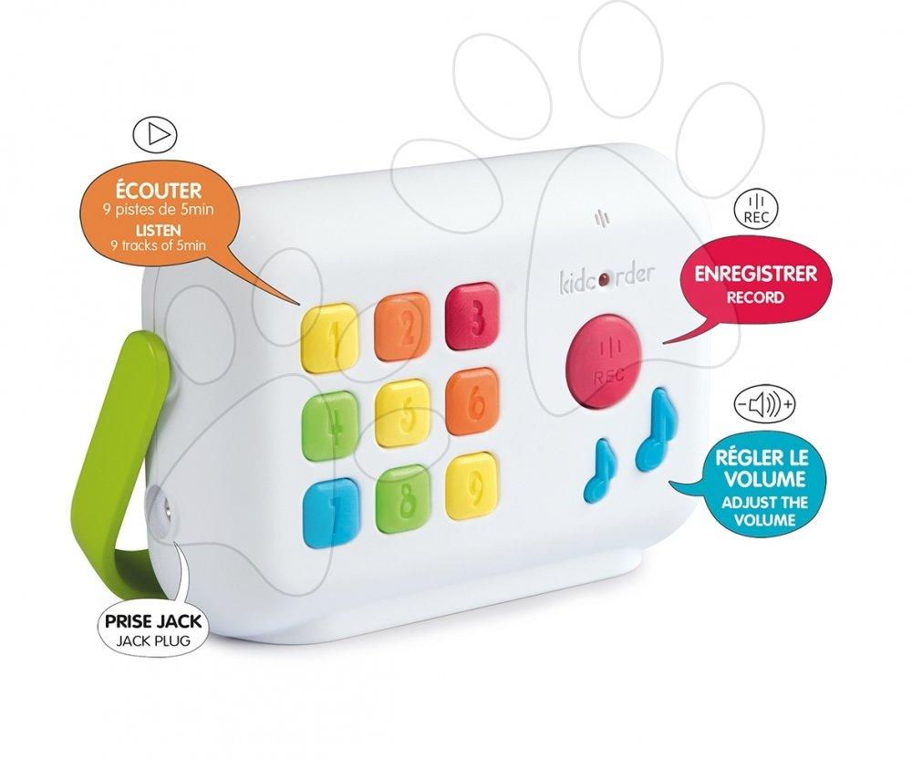 Interaktivne igrače - Avdio snemalnik Kidcorder Smoby snemanje in predvajanje glasu, pesmic in zvokov (brez radia) od 12 mes do 10 leta