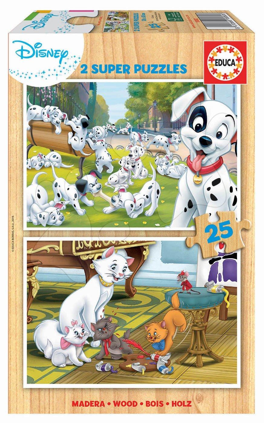 Drevené puzzle pre deti Disney zvieratká Educa 2x25 dielov
