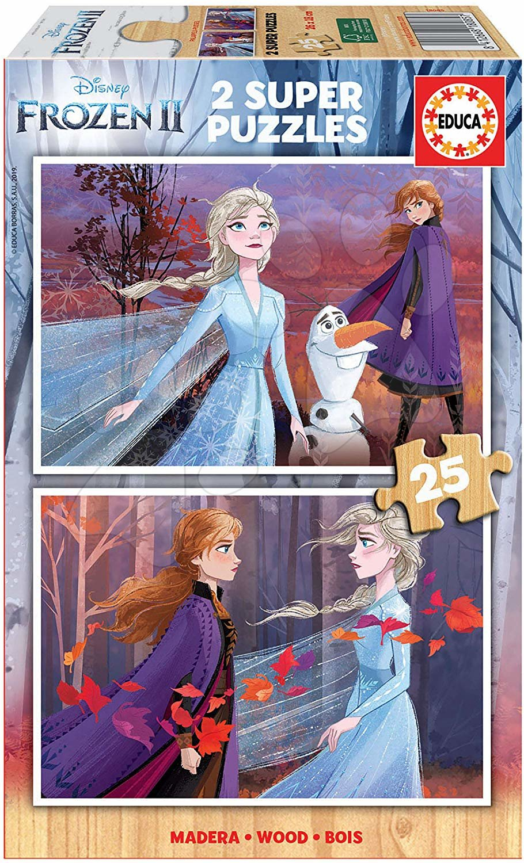 Drevené puzzle pre deti Frozen Educa 2*25 dielov od 4 rokov