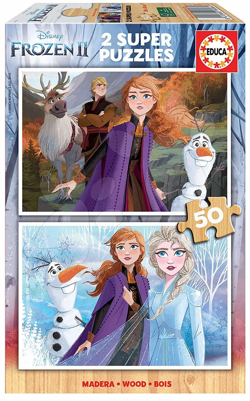 Drevené puzzle pre deti Frozen Educa 2*50 dielov od 5 rokov