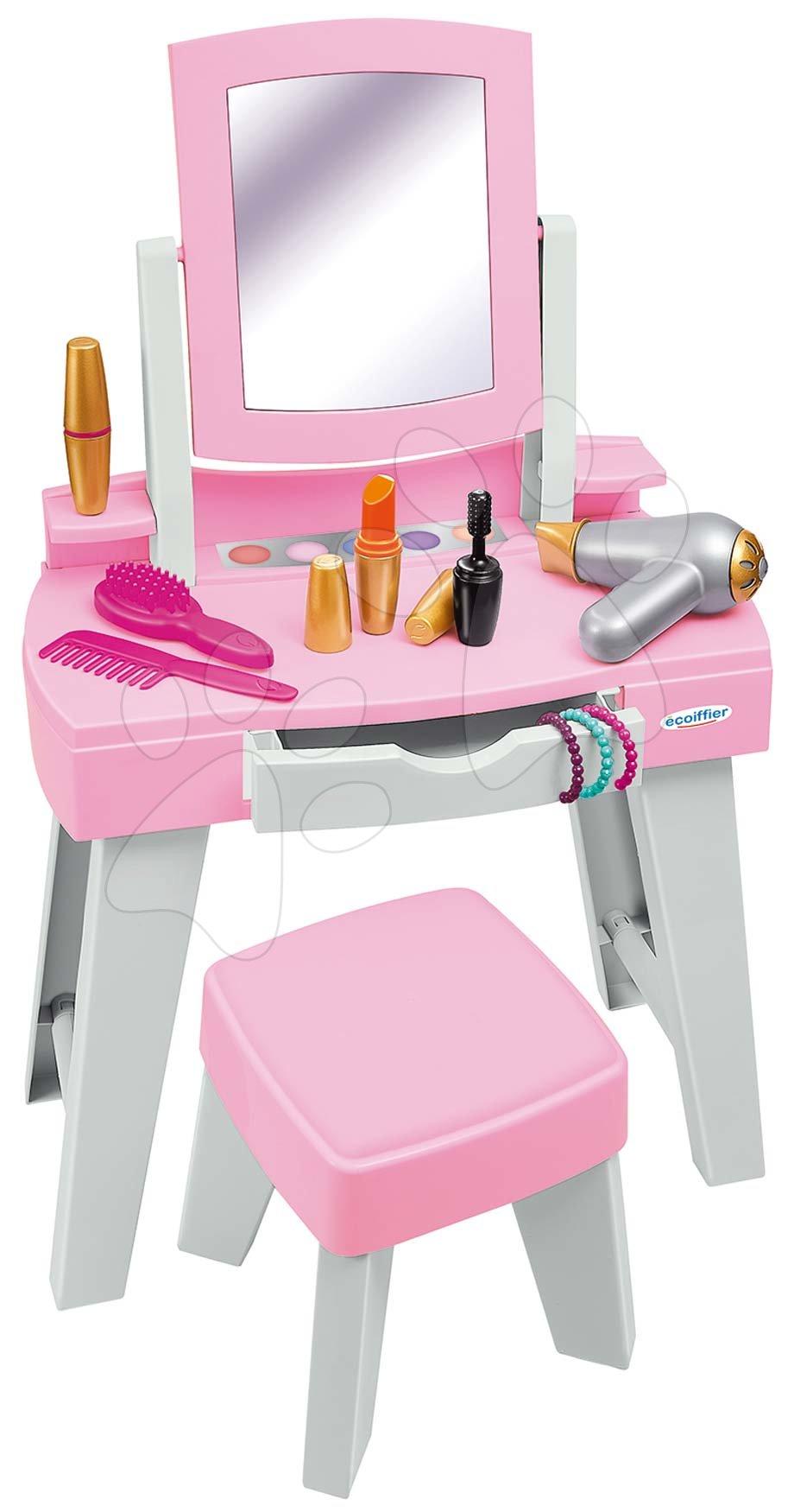 Kozmetična mizica za otroke - Kozmetična mizica s stolčkom My Very First Beauty Table Ecoiffier s sušilnikom za lase in 11 dodatki od 18 mes