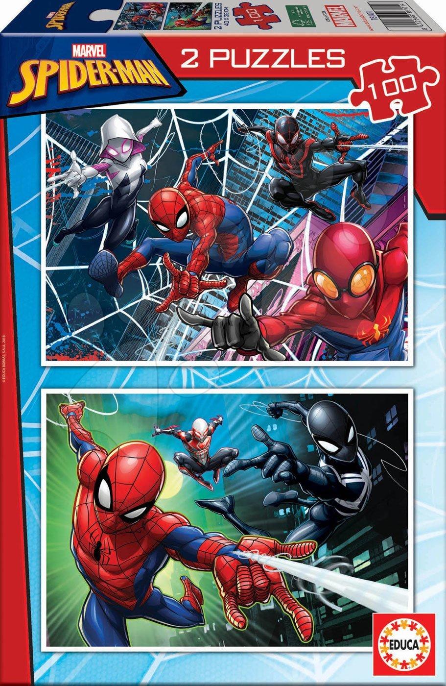 Dětské puzzle od 100–300 dílků - Puzzle pro děti Spiderman Educa 2 x 100 dílků od 6 let
