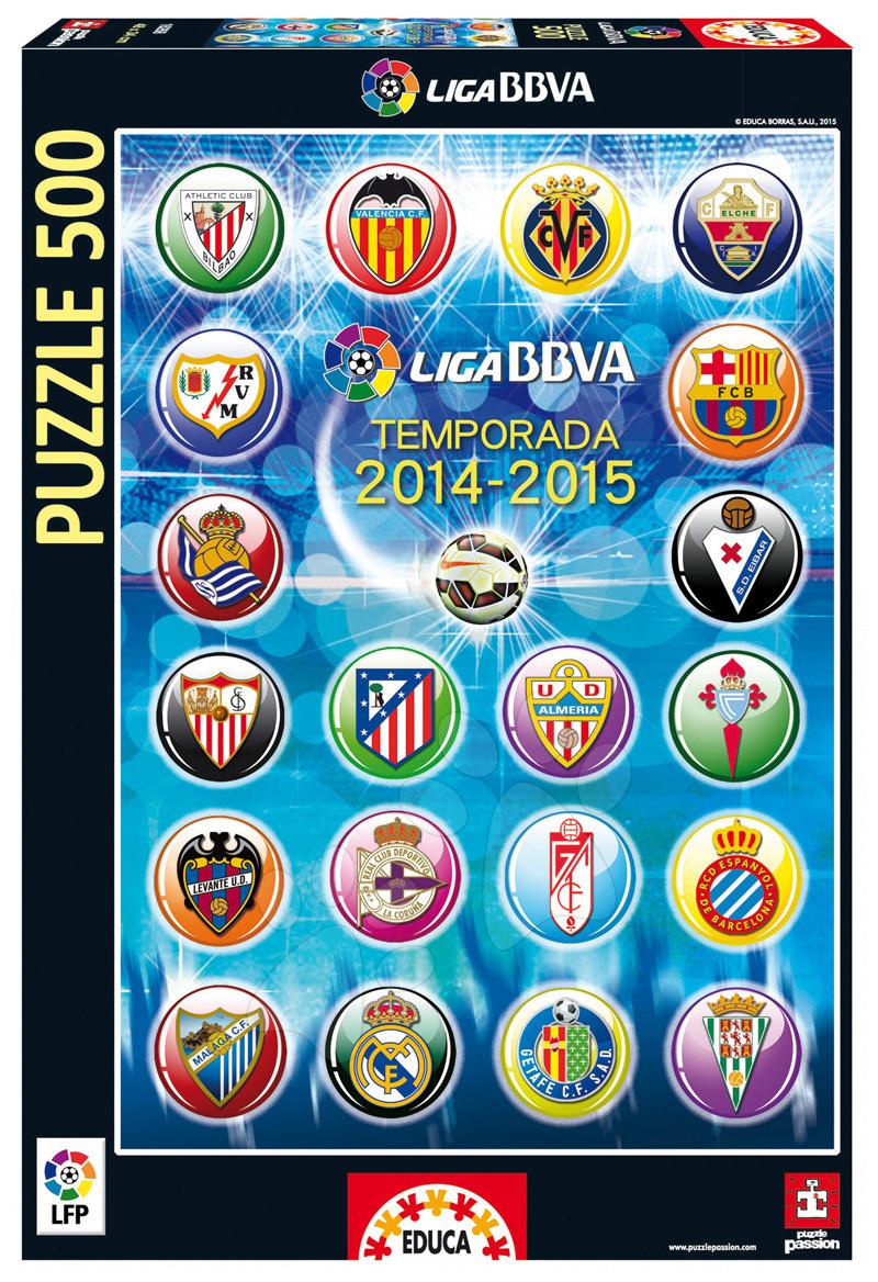 Puzzle 500 dílků - Puzzle Liga BBVA Escudos LFP 2014-15 Educa 500 dílů od 11 let