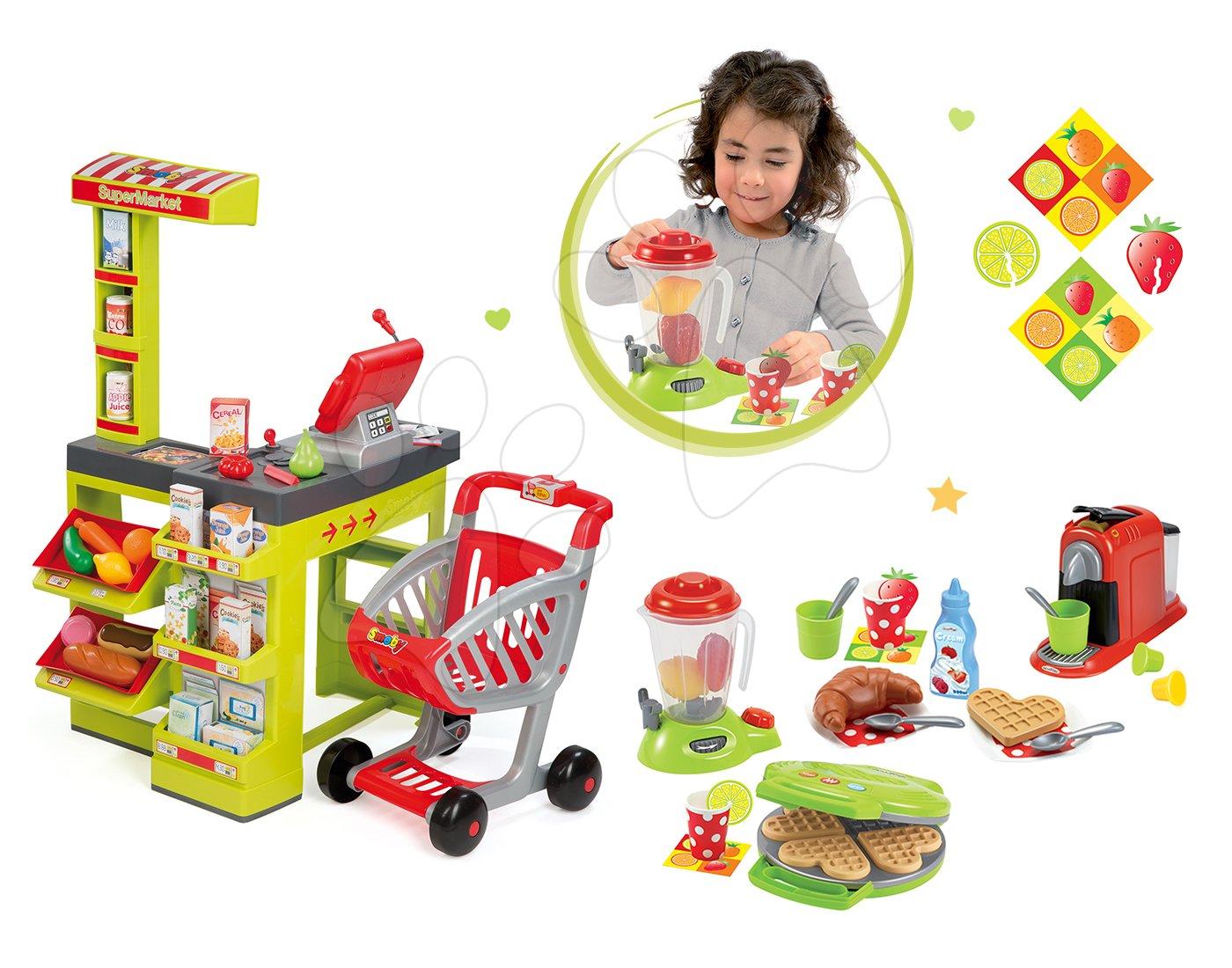 Set obchod pro děti Supermarket Smoby s elektronickou pokladnou a kuchyňka Studio Tefal se zvuky