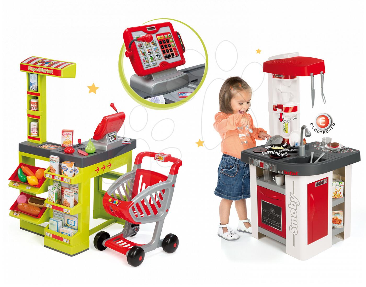 Set dětský obchod Supermarket Smoby s elektronickou pokladnou a kuchyňka Studio Tefal se zvuky