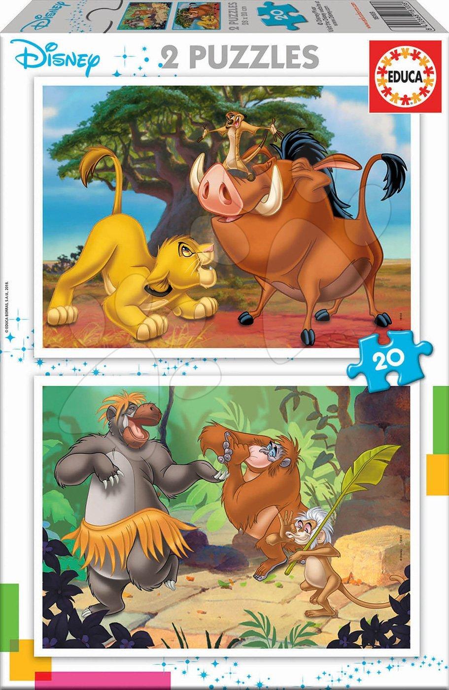 Dječje puzzle do 100 dijelova - Puzzle Kralj lavova Disney Educa 2x20 dijelova od 4 godine