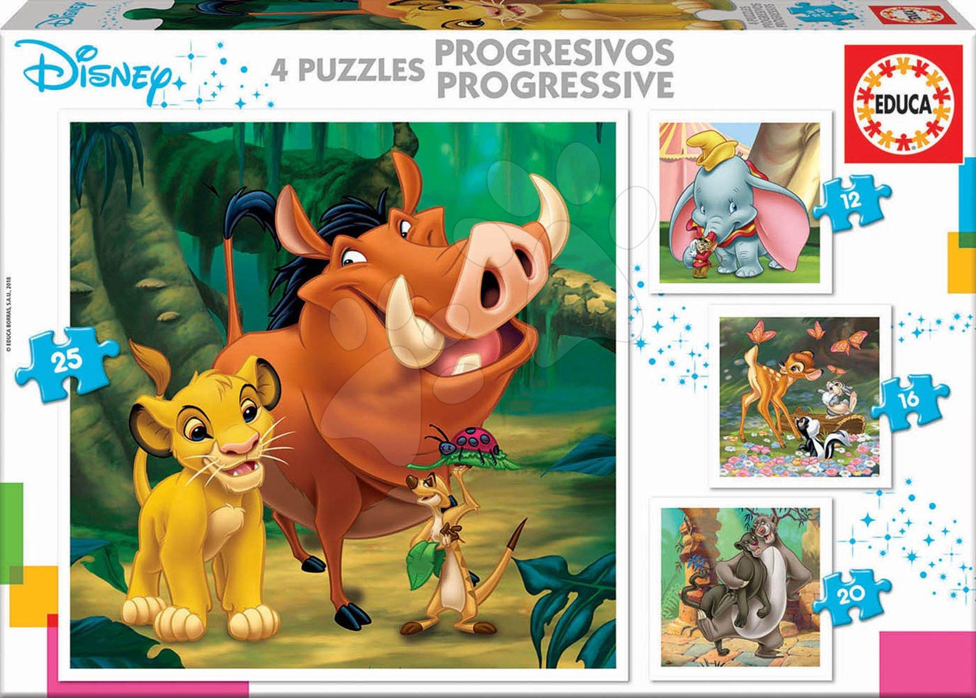 Progresivne dječje puzzle - Puzzle Kralj lavova Disney Progressive Educa 12-16-20-25 dijelova