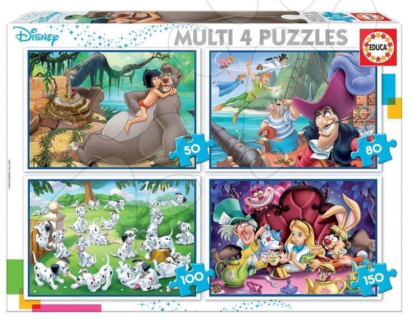 Puzzle Multi 4 Disney Educa 50-80-100-150 dílků od 5 let