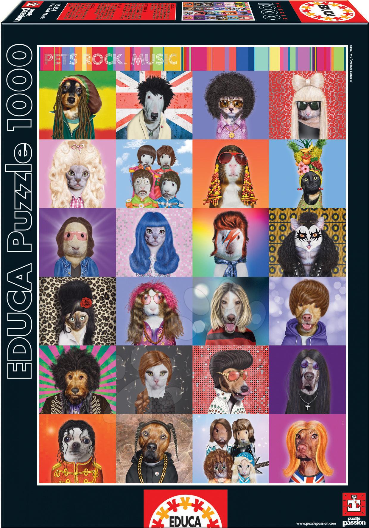 Puzzle 1000 dílků - Puzzle Pets Rock Music Educa 1000 dílů od 12 let