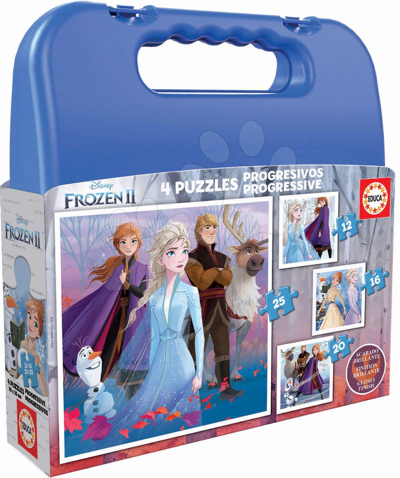 Detské puzzle v kufríku Frozen 2 Case Educa 12-16-20-25 dielov od 4 rokov