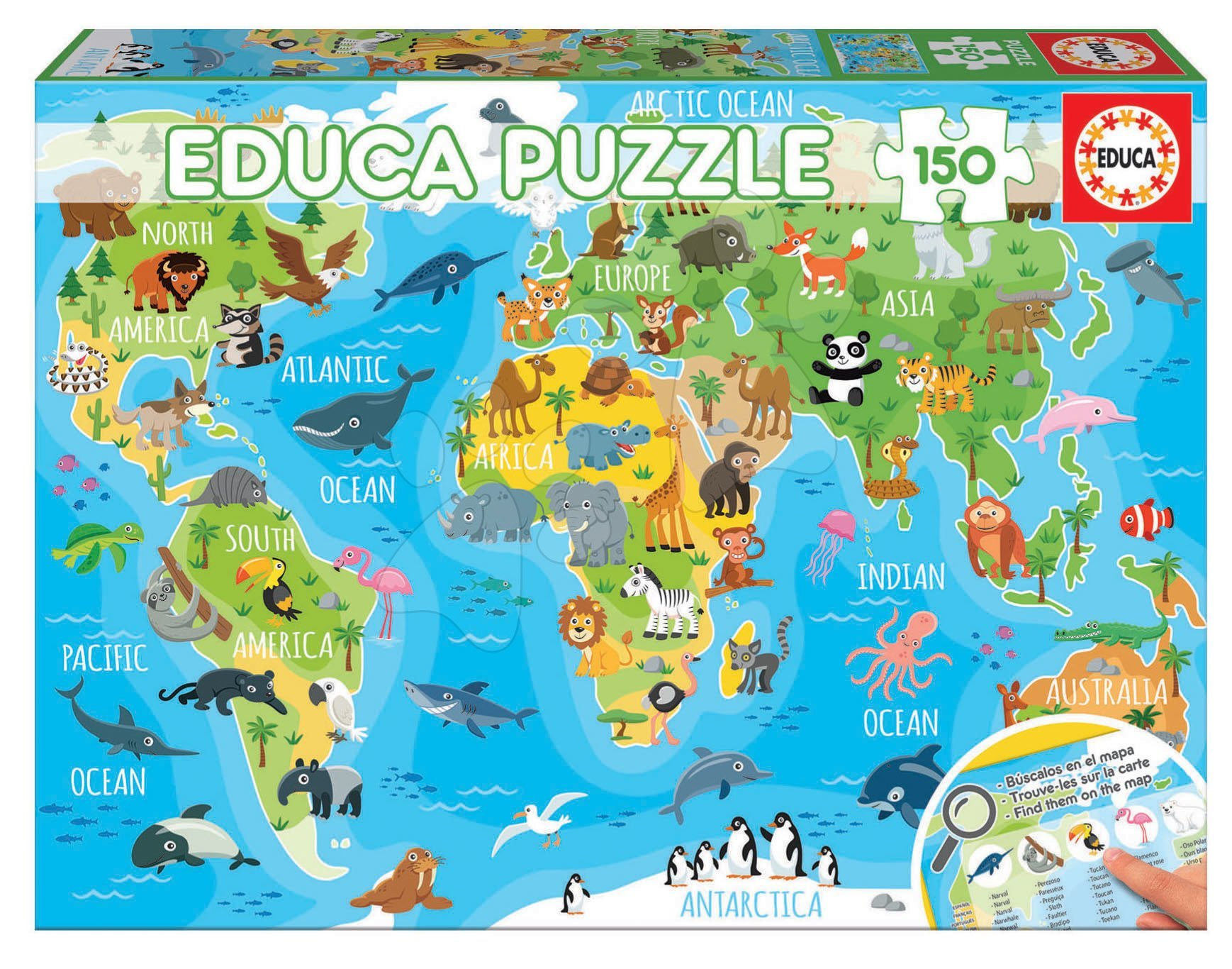 Puzzle Mapa sveta so zvieratkami Educa 150 dielov od 7 rokov