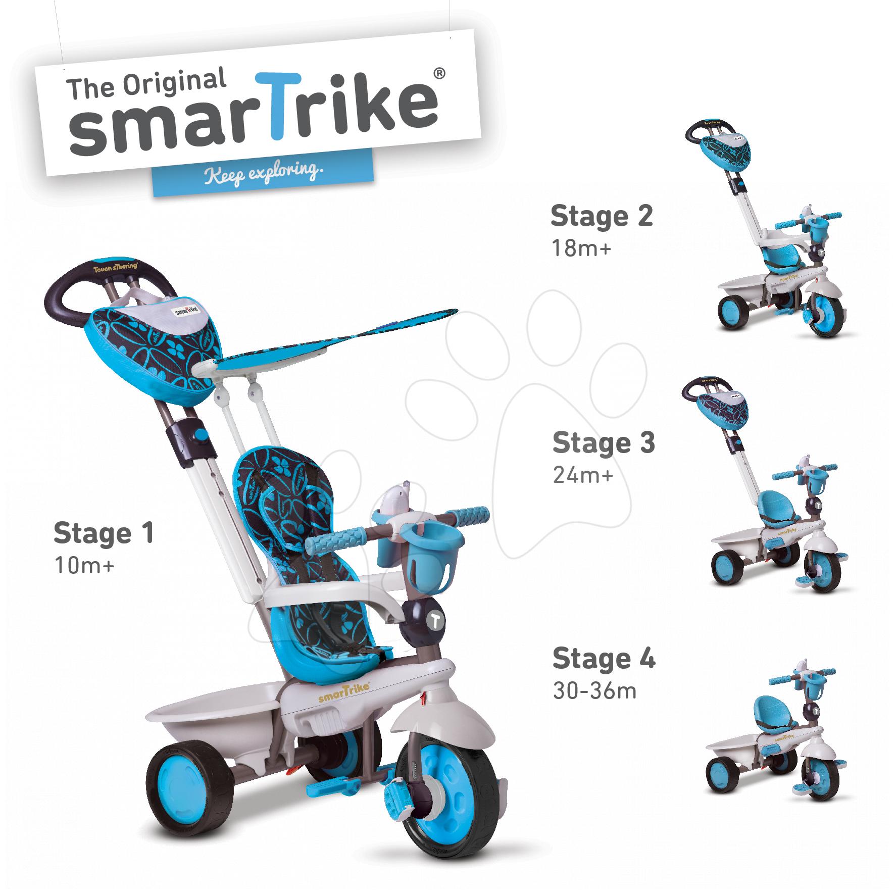 Tříkolka Dream Team Blue Touch Steering 4v1 smarTrike od 10 měsíců modro-šedá