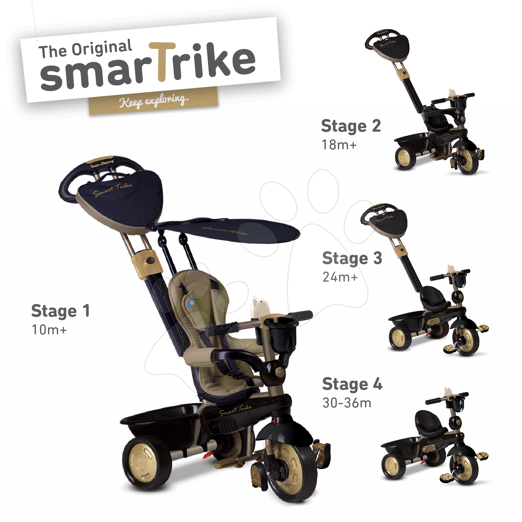 Tříkolka Dream Team Gold Touch Steering 4v1 smarTrike od 10 měsíců zlato-černá