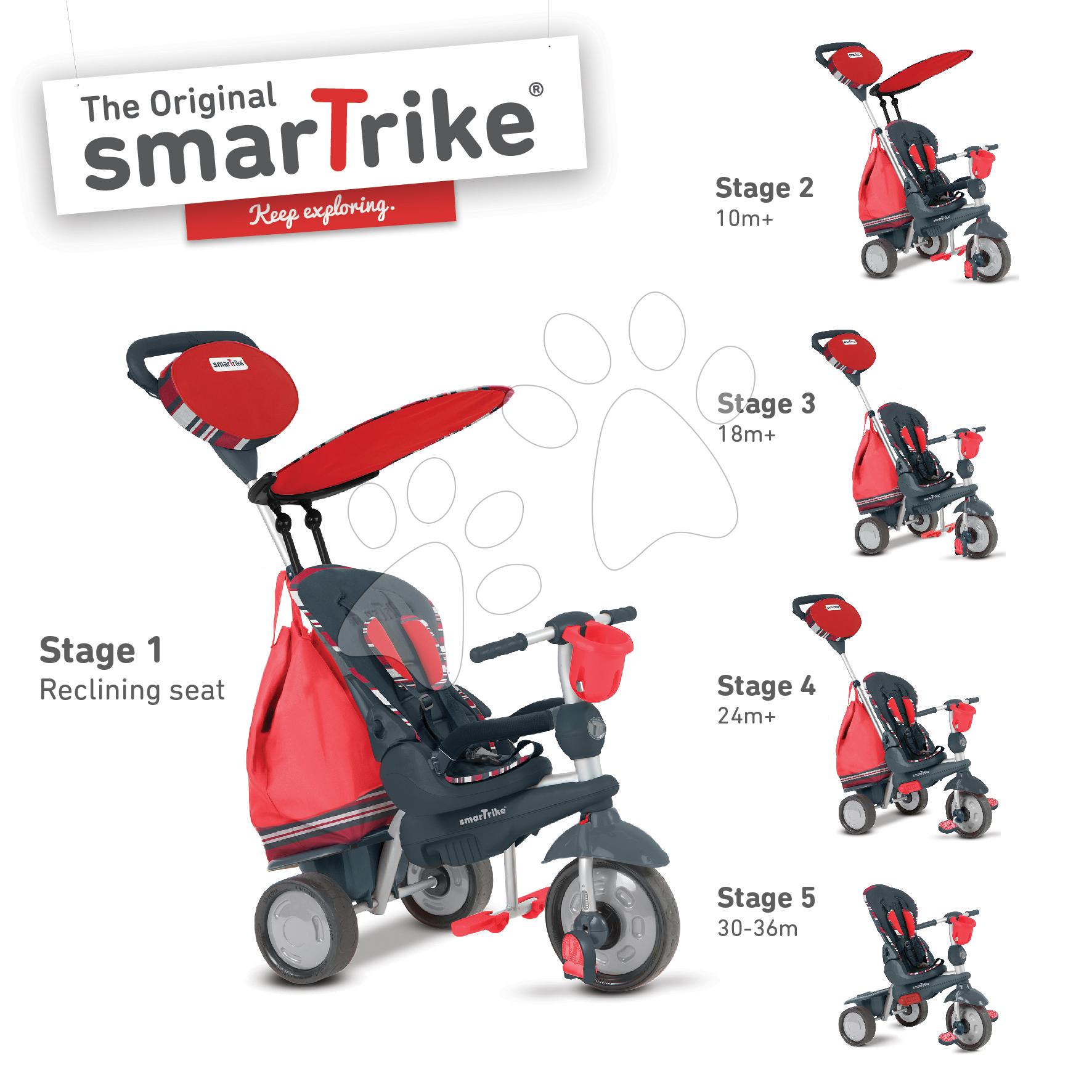 Dětská tříkolka Splash 5v1 Red 2 smarTrike 360° řízení s polohovatelnou opěrkou od 10 měsíců červeno-šedá