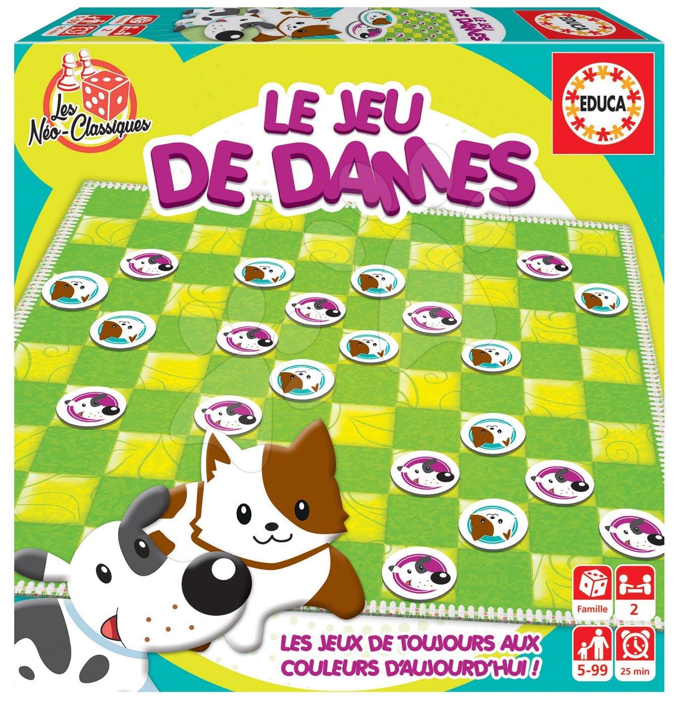 Spoločenská hra Dama Le Jeu de Dames Educa po francúzsky pre 2 hráčov od 5-99 rokov