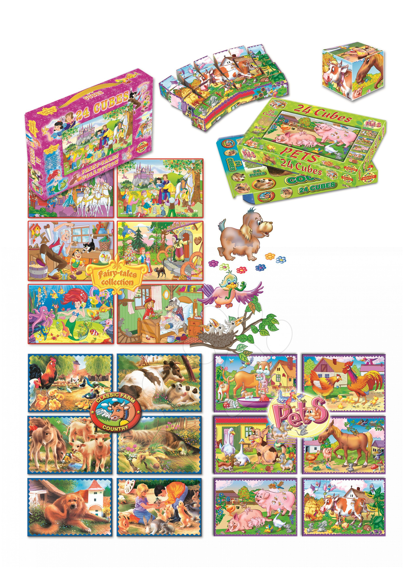 Veľké rozprávkové kocky Farma Dohány 24 dielov