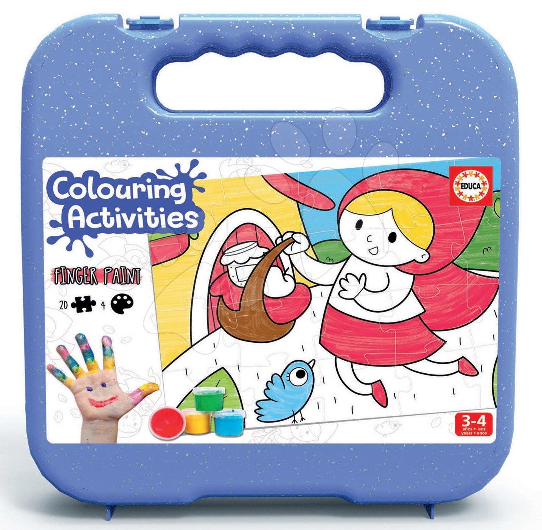 Puzzle vymaľovánky Červená čiapočka Colouring Activities Educa v kufríku 20 dielov - maľovanie prstami