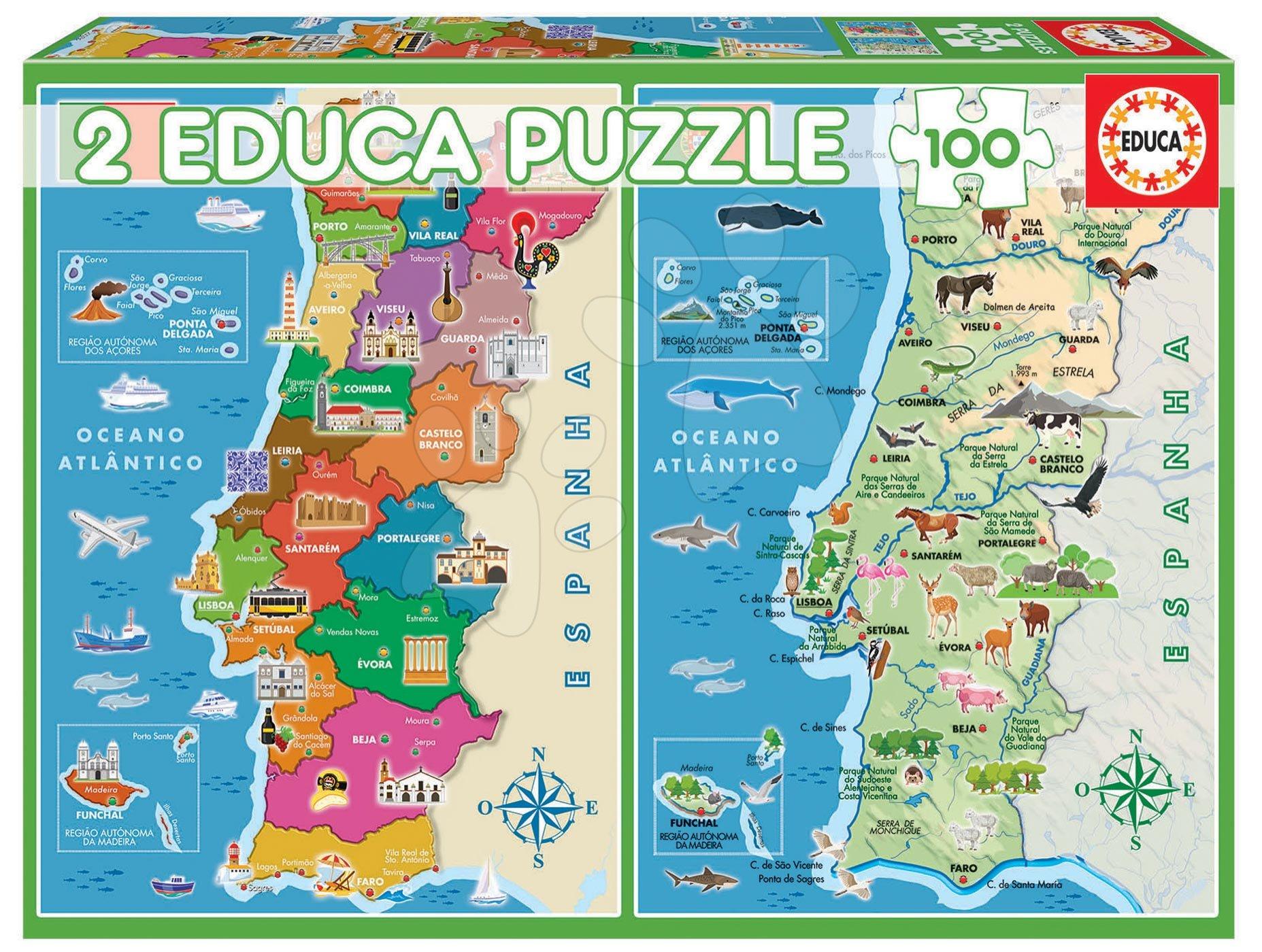 Puzzle Distritos Mapa Portugalska Educa 2x100 dielov od 6 rokov
