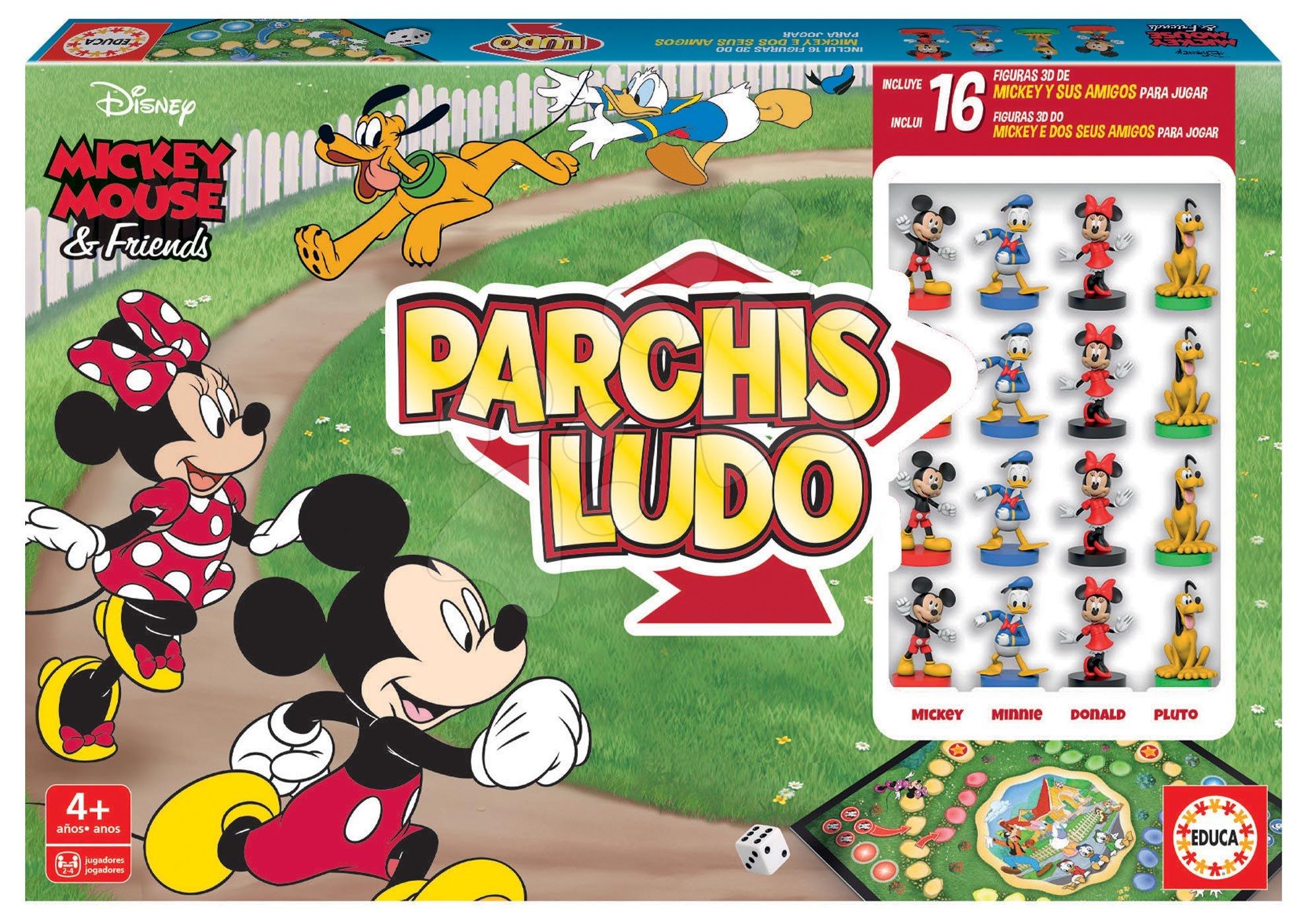 Cudzojazyčné spoločenské hry - Spoločenská hra Parchis Mickey Disney Educa Človeče, nezlob se so 16 figúrkami od 4 rokov španielsky