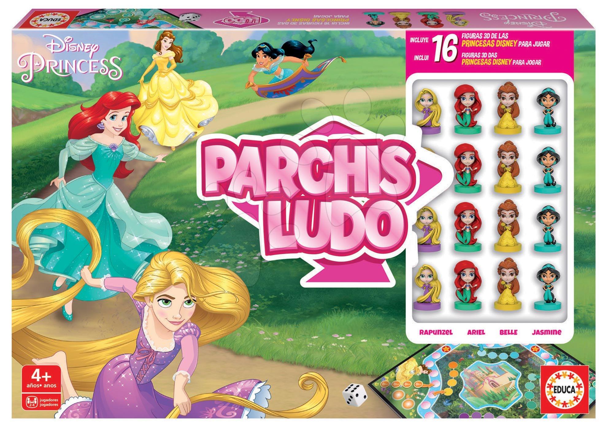 Társasjáték Parchis Princesas Disney Educa Ki nevet a végén? 16 bábuval 4 évtől spanyol nyelvű